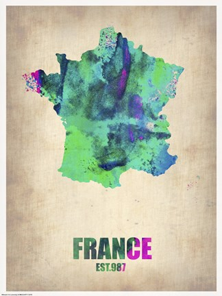 Framed France Watercolor Map Print