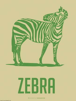 Framed Zebra Green II Print