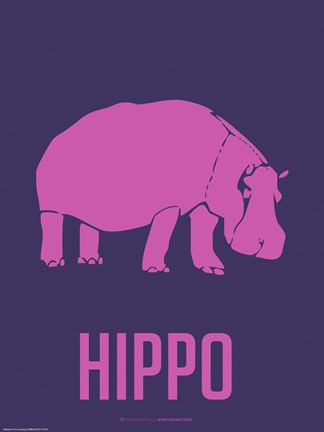 Framed Hippo Pink Print