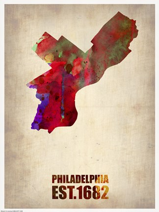 Framed Philadelphia Watercolor Map Print