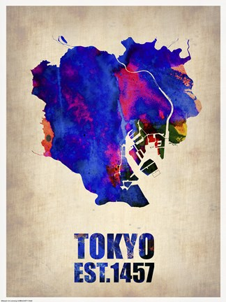 Framed Tokyo Watercolor Map I Print