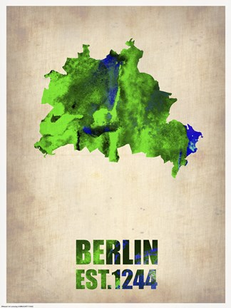 Framed Berlin Watercolor Map Print