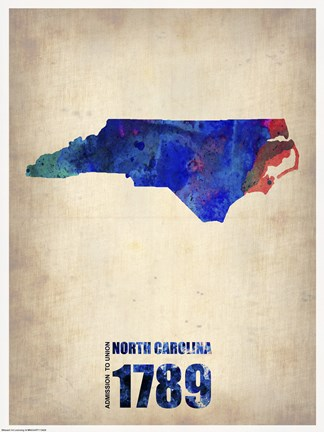 Framed North Carolina Watercolor Map Print