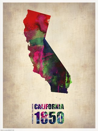 Framed California Watercolor Map Print