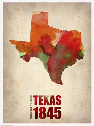 Framed Texas Watercolor Map Print