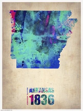 Framed Arkansas Watercolor Map Print