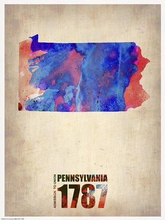 Framed Pennsylvania Watercolor Map Print