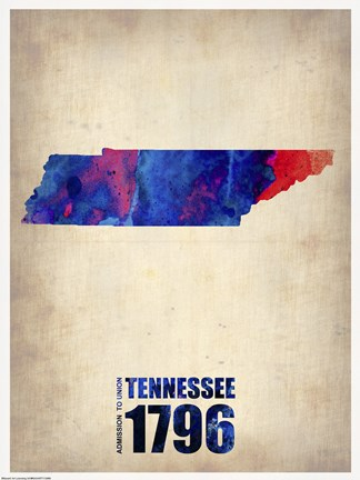 Framed Tennessee Watercolor Map Print