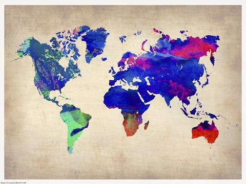 Framed World Watercolor Map II Print