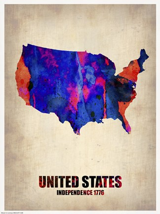 Framed USA Watercolor Map I Print