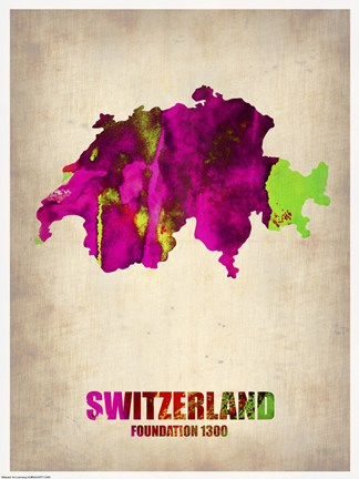 Framed Switzerland Watercolor Map Print