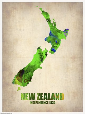 Framed New Zealand Watercolor Map Print