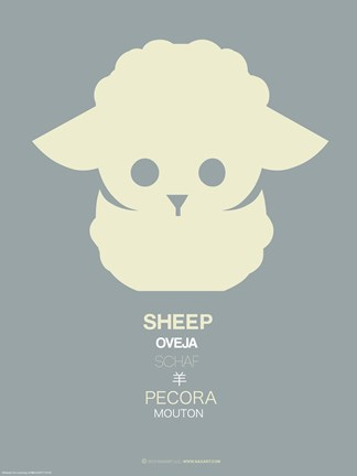 Framed Yellow Sheep Multilingual Poster Print