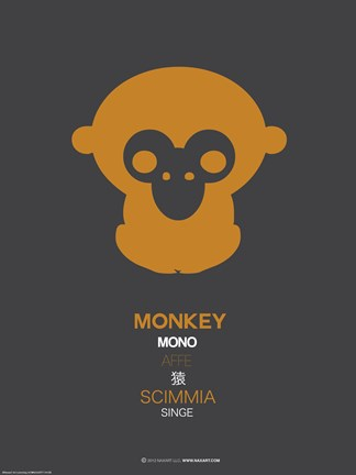 Framed Orange Monkey Multilingual Poster Print