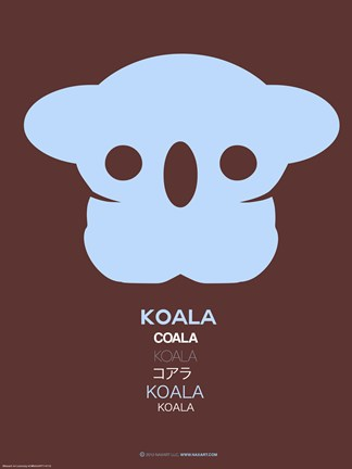 Framed Blue Koala Multilingual Poster Print