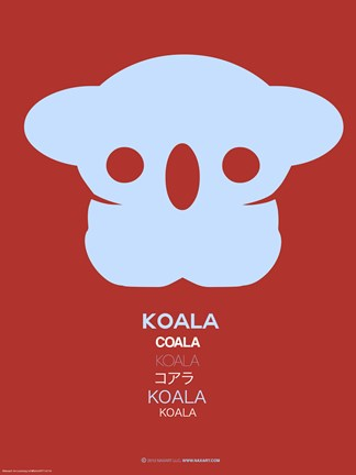Framed Purple Koala Multilingual Poster Print