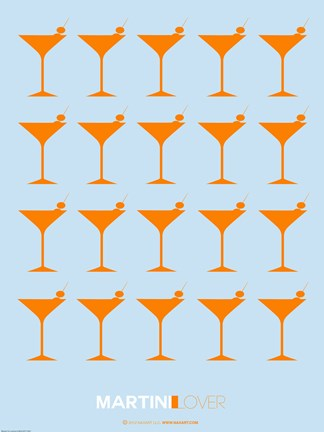 Framed Martini Lover Orange Print