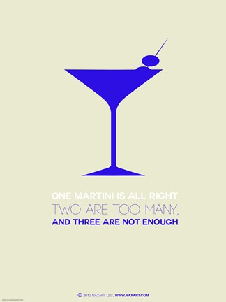 Framed Martini Poster Blue Print