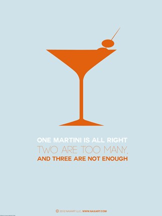 Framed Martini Poster Orange Print