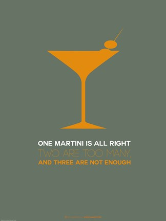 Framed Martini Poster Yellow Print