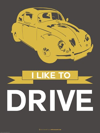 Framed I Like To Drive Beetle 1 Print