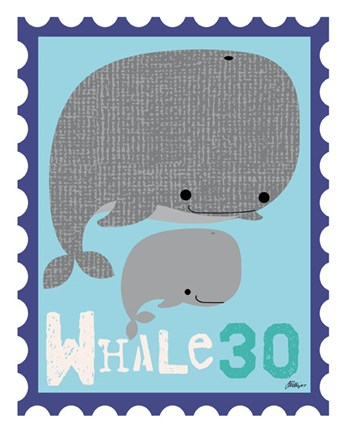 Framed Animal Stamps - Whale Print