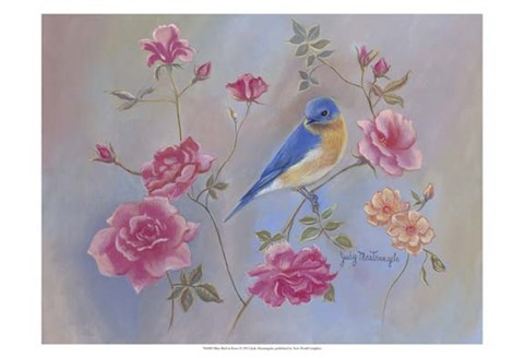 Framed Blue Bird in Roses Print