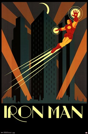 Framed Iron Man - Art Deco Print