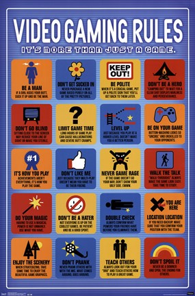 Framed Video Game Rules Print