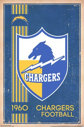 Framed San Diego Chargers - Retro Logo 14 Print