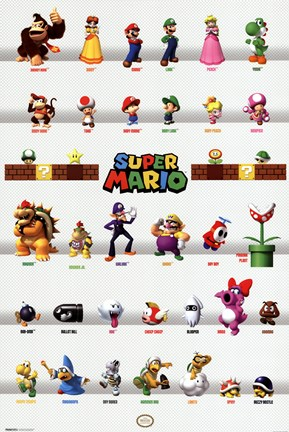Framed Mario - Characters Print