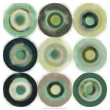 Framed Green Circles II Print