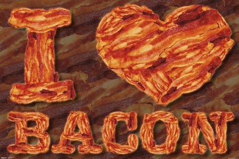 Framed I Heart Bacon Print