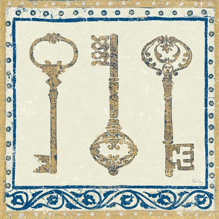 Framed Regal Keys Indigo and Cream Print