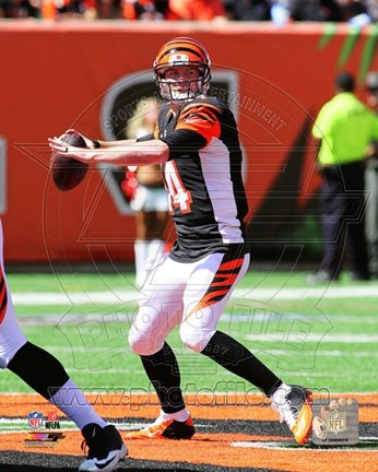 Framed Andy Dalton Passing Football Print