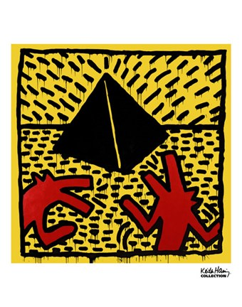 Framed Untitled, 1982 (red dogs with pyramid) Print