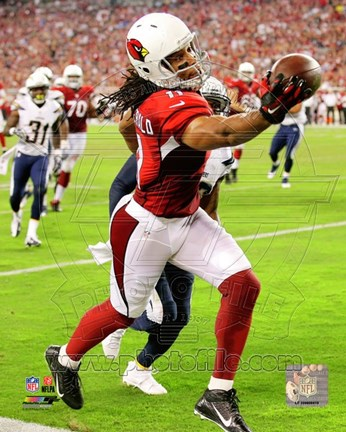 Framed Larry Fitzgerald catching the ball 2014 Print