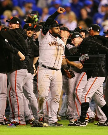 Framed Pablo Sandoval Celebrates winning Game 7 of the 2014 World Series Print