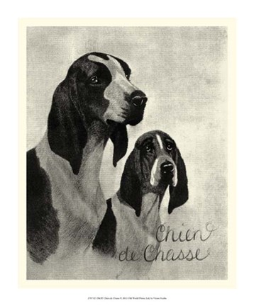 Framed B&W Chien de Chasse Print