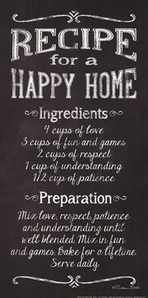 Framed Recipe for a Happy Home Print