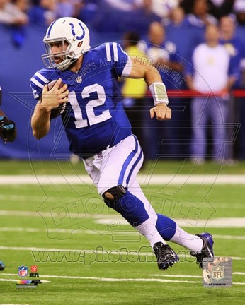 Framed Andrew Luck 2014 running with the football Print