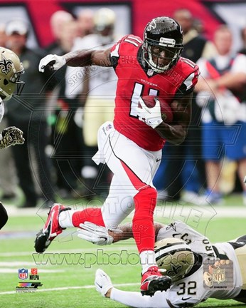 Framed Julio Jones Avoiding Football Tackle Print