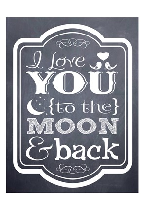 Framed Moon & Back Chalk Print