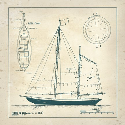 Framed Nautical Blueprint III Print