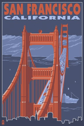 Framed San Francisco Bridge Ad Print