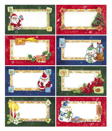 Framed Santa and Snowman Chirstmas Gift Cards I Print