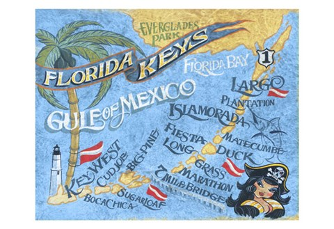 Framed Florida Keys Beach Map Print