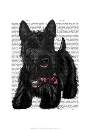 Framed Scottish Terrier and Bow Print