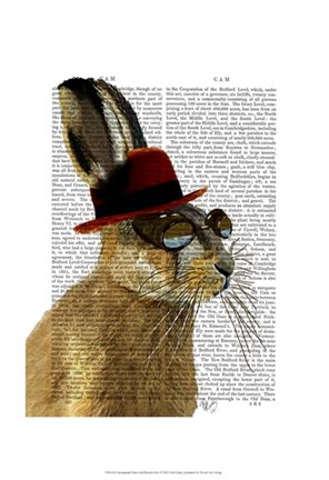 Framed Steampunk Hare with Bowler Hat Print