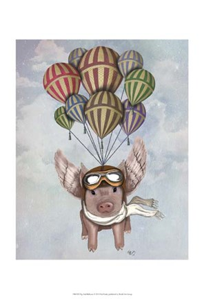 Framed Pig And Balloons Print
